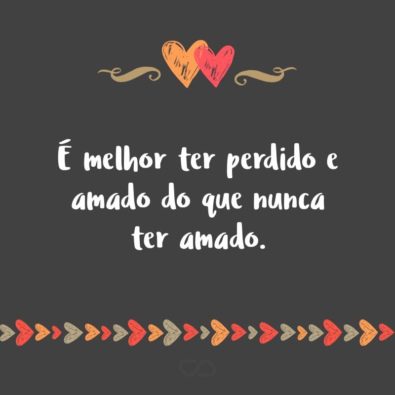 Frase de Amor - É melhor ter perdido e amado do que nunca ter amado.