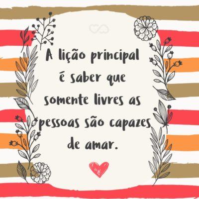 Frase de Amor - A lição principal é saber que somente livres as pessoas são capazes de amar.