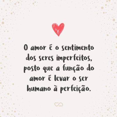Frase de Amor - O amor é o sentimento dos seres imperfeitos, posto que a função do amor é levar o ser humano à perfeição.