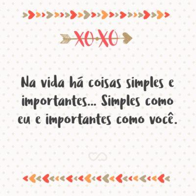 Frase de Amor - Na vida há coisas simples e importantes… Simples como eu e importantes como você.