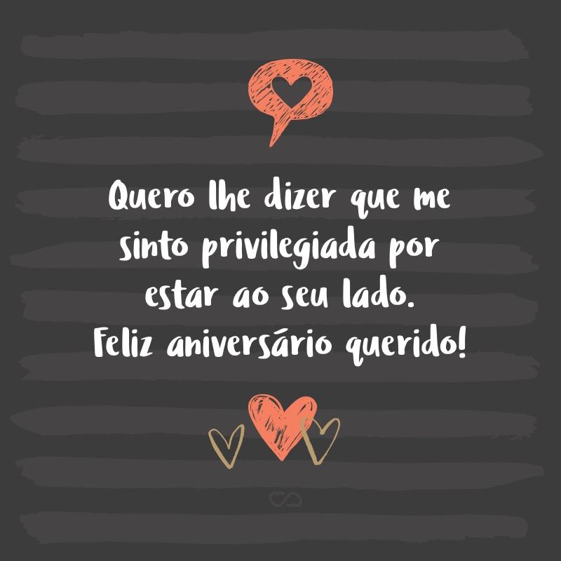 Frase de Amor - Meu amor estou muito feliz hoje, cheia de alegria por saber que você está fazendo mais um aniversário. Eu quero desejar tudo de bom pra você, que continue sendo esse encanto de pessoa que me conquistou, que mexe profundamente comigo e me faz feliz sempre. Quero lhe dizer que me sinto privilegiada por estar ao...