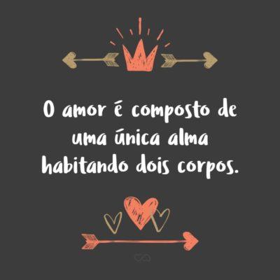 Frase de Amor - O amor é composto de uma única alma habitando dois corpos.