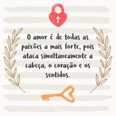 Frase de Amor - O amor é de todas as paixões a mais forte, pois ataca simultaneamente a cabeça, o coração e os sentidos.