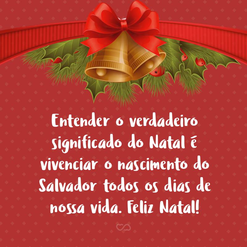 Frase de Amor - Entender o verdadeiro significado do Natal é vivenciar o nascimento do Salvador todos os dias de nossa vida. Feliz Natal!