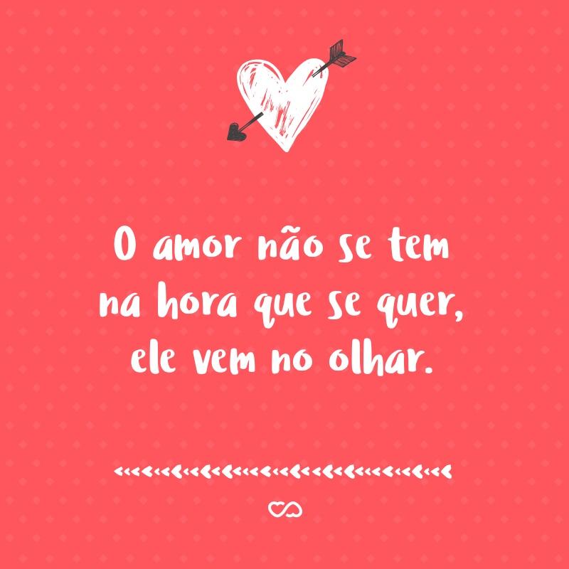 Frase de Amor - O amor não se tem na hora que se quer, ele vem no olhar.