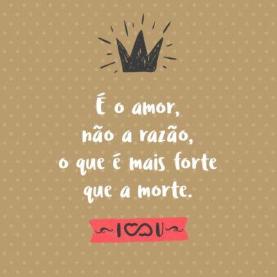 Frase de Amor - É o amor, não a razão, o que é mais forte que a morte.