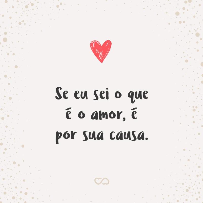 Frase de Amor - Se eu sei o que é o amor, é por sua causa.