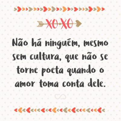 Frase de Amor - Não há ninguém, mesmo sem cultura, que não se torne poeta quando o amor toma conta dele.