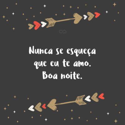 Frase de Amor - Nunca se esqueça que eu te amo. Boa noite.