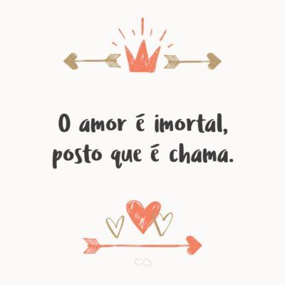 Frase de Amor - O amor é imortal, posto que é chama.