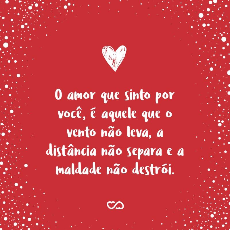 Frase de Amor - O amor que sinto por você, é aquele que o vento não leva, a distância não separa e a maldade não destrói.