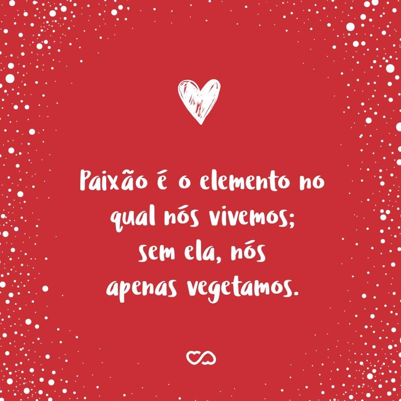 Frase de Amor - Paixão é o elemento no qual nós vivemos; sem ela, nós apenas vegetamos.