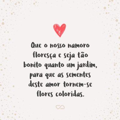 Frase de Amor - Neste dia tão importante para nós dois, fico torcendo para que o nosso namoro floresça e seja tão bonito quanto um jardim, para que as sementes deste amor tornem-se flores coloridas.