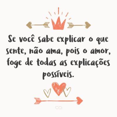 Frase de Amor - Se você sabe explicar o que sente, não ama, pois o amor, foge de todas as explicações possíveis.
