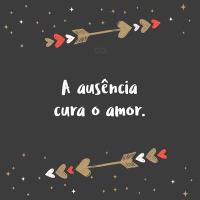 Frase de Amor - A ausência cura o amor.