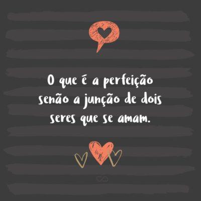 Frase de Amor - O que é a perfeição senão a junção de dois seres que se amam.