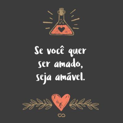 Frase de Amor - Se você quer ser amado, seja amável.