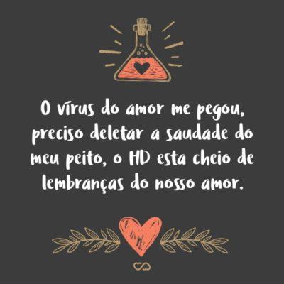 Frase de Amor - O vírus do amor me pegou, preciso deletar a saudade do meu peito, o HD esta cheio de lembranças do nosso amor.