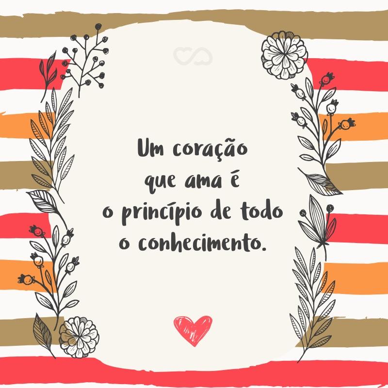 Frase de Amor - Um coração que ama é o princípio de todo o conhecimento.