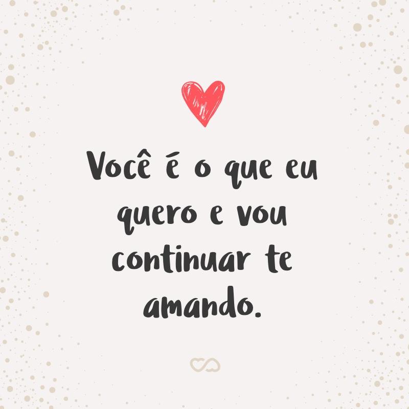 Frase de Amor - Você é o que eu quero e vou continuar te amando.
