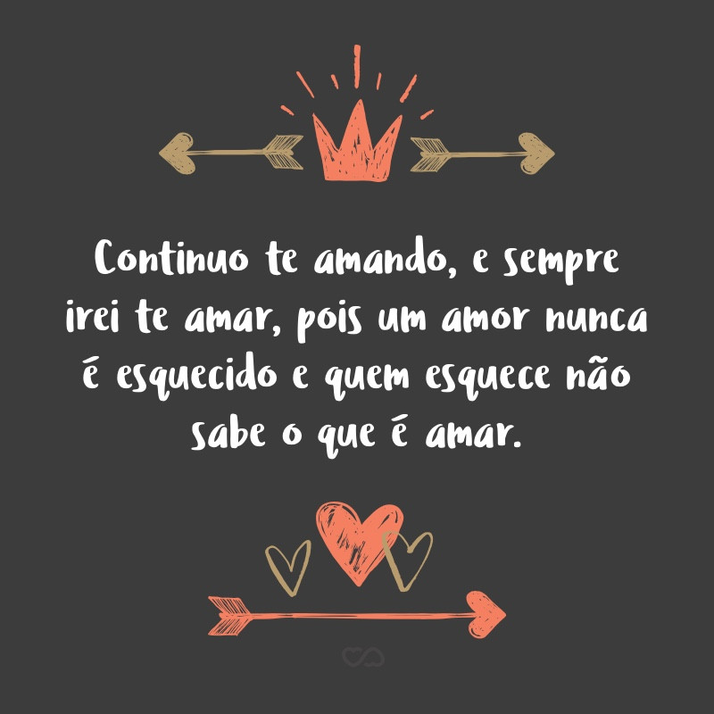 Frase de Amor - Continuo te amando, e sempre irei te amar, pois um amor nunca é esquecido e quem esquece não sabe o que é amar.