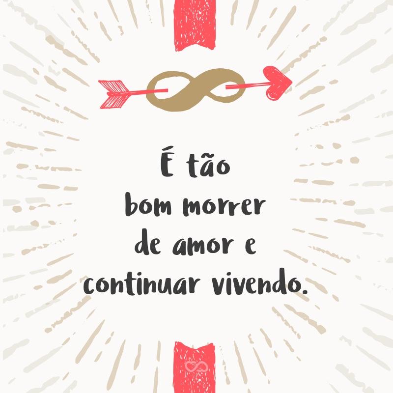 Frase de Amor - É tão bom morrer de amor e continuar vivendo.