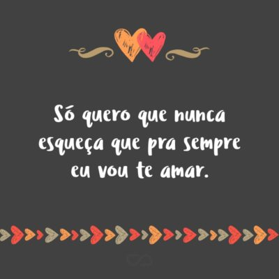 Frase de Amor - Só quero que nunca esqueça que pra sempre eu vou te amar.
