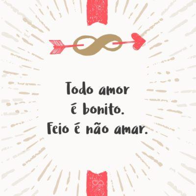 Frase de Amor - Todo amor é bonito. Feio é não amar.