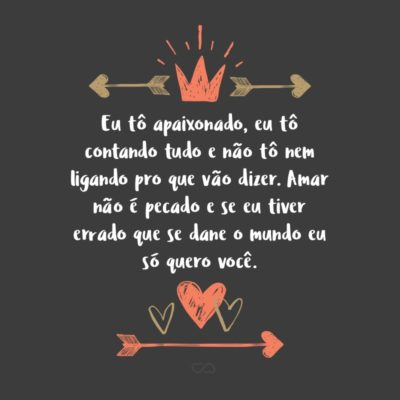 Frase de Amor - Eu tô apaixonado, eu tô contando tudo e não tô nem ligando pro que vão dizer. Amar não é pecado e se eu tiver errado que se dane o mundo eu só quero você.