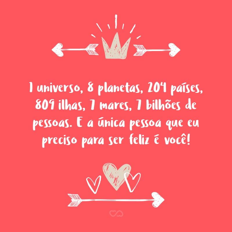 1 Universo 8 Planetas 204 Países 809 Ilhas 7 Mares 7 Bilhões De