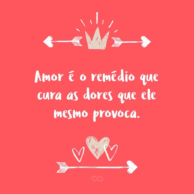 Frase de Amor - Amor é o remédio que cura as dores que ele mesmo provoca.