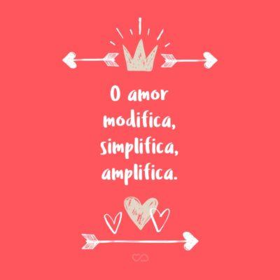 Frase de Amor - O amor modifica, simplifica, amplifica.