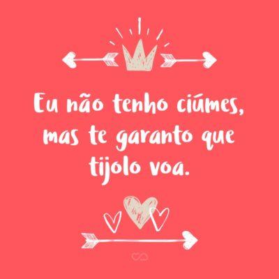 Frase de Amor - Eu não tenho ciúmes, mas te garanto que tijolo voa.