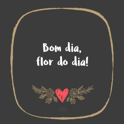 Frase de Amor - Bom dia, flor do dia!