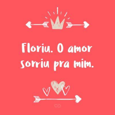 Frase de Amor - Floriu. O amor sorriu pra mim.