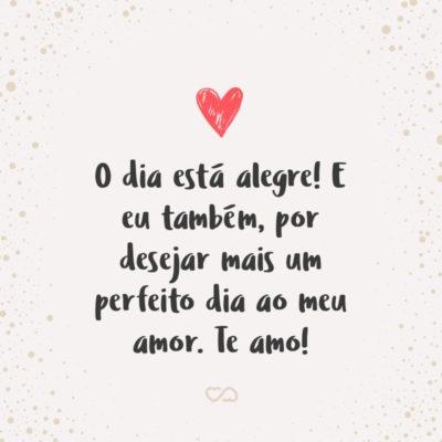 Frase de Amor - O dia está alegre! E eu também, por desejar mais um perfeito dia ao meu amor. Te amo!