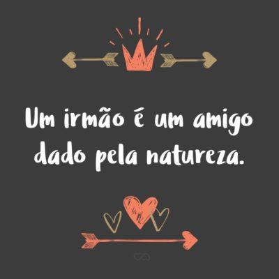 Frase de Amor - Um irmão é um amigo dado pela natureza.
