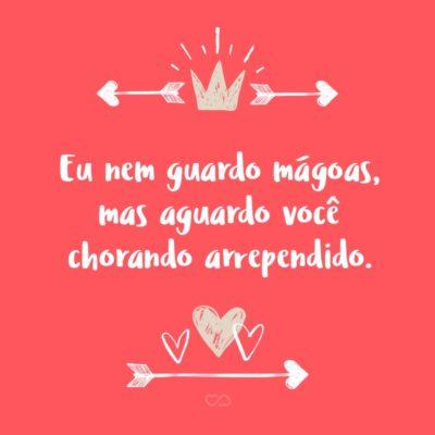 Frase de Amor - Eu nem guardo mágoas, mas aguardo você chorando arrependido.