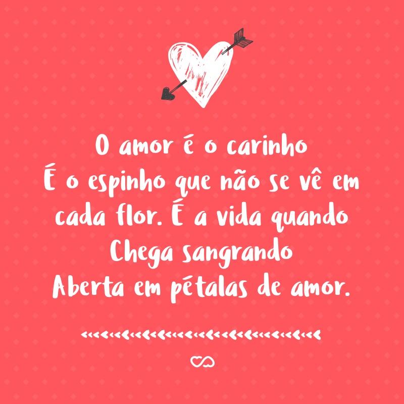 Frase de Amor - O amor é o carinho É o espinho que não se vê em cada flor É a vida quando Chega sangrando Aberta em pétalas de amor.