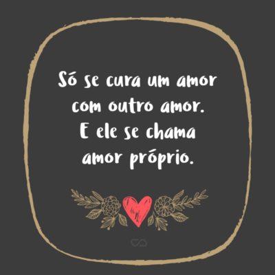 Frase de Amor - Só se cura um amor com outro amor. E ele se chama amor próprio.