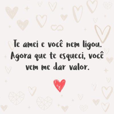 Frase de Amor - Te amei e você nem ligou. Agora que te esqueci, você vem me dar valor.