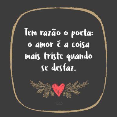 Frase de Amor - Tem razão o poeta: o amor é a coisa mais triste quando se desfaz.
