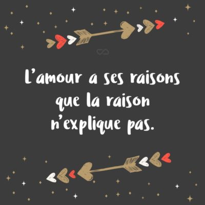Frase de Amor - L'amour a ses raisons que la raison n'explique pas. (O amor tem razões que a razão não pode explicar.)