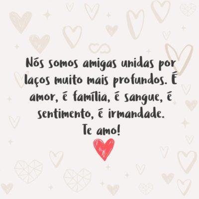 Frase de Amor - Nós somos amigas unidas por laços muito mais profundos. É amor, é família, é sangue, é sentimento, é irmandade. Te amo!