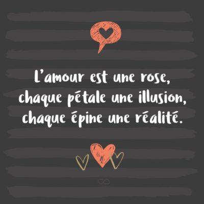 Frase de Amor - L'amour est une rose, chaque pétale une illusion, chaque épine une réalité. (O amor é uma rosa, cada pétala é uma ilusão, cada espinho é uma realidade.)