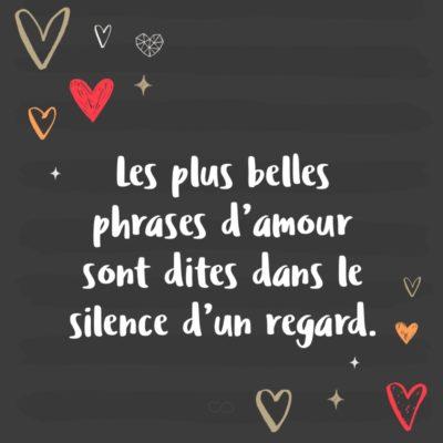 Frase de Amor - Les plus belles phrases d'amour sont dites dans le silence d'un regard. (As mais lindas frases de amor são ditas no silêncio de um olhar.)