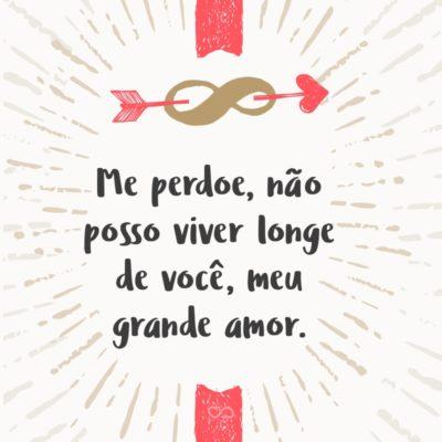 Frase de Amor - Me perdoe, não posso viver longe de você, meu grande amor.
