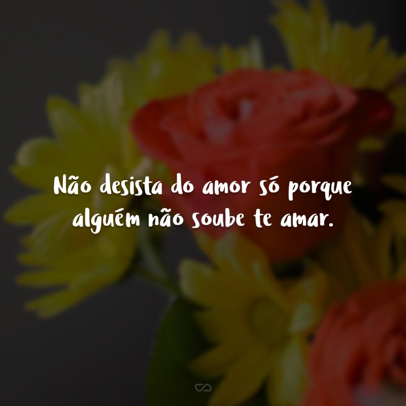 Não desista do amor só porque alguém não soube te amar.