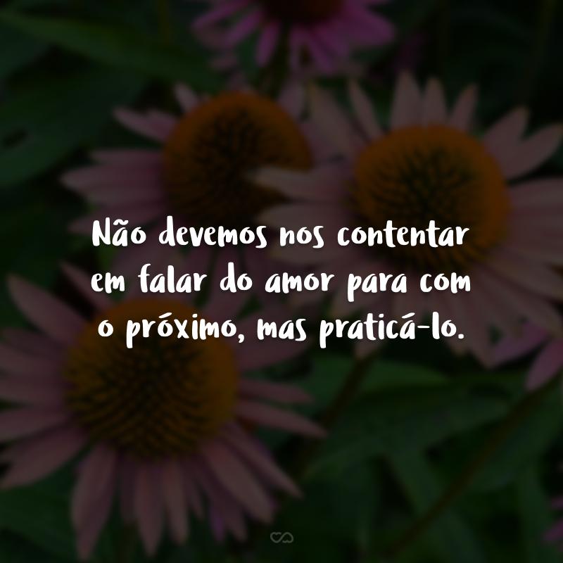 Não devemos nos contentar em falar do amor para com o próximo, mas praticá-lo.