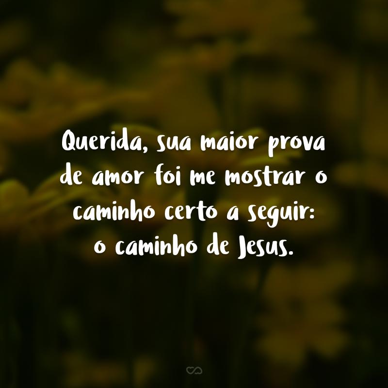 Querida, sua maior prova de amor foi me mostrar o caminho certo a seguir: o caminho de Jesus.